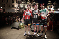Post-Tour Criterium Mechelen (Belgium) 2016 podium: <br /> 1/ John Degenkolb (DEU/Giant-Alpecin)<br /> 2/ Giacomo Nizzolo (ITA/Trek-Segafredo)<br /> 3/ Thomas De Gendt (BEL/Lotto-Soudal)