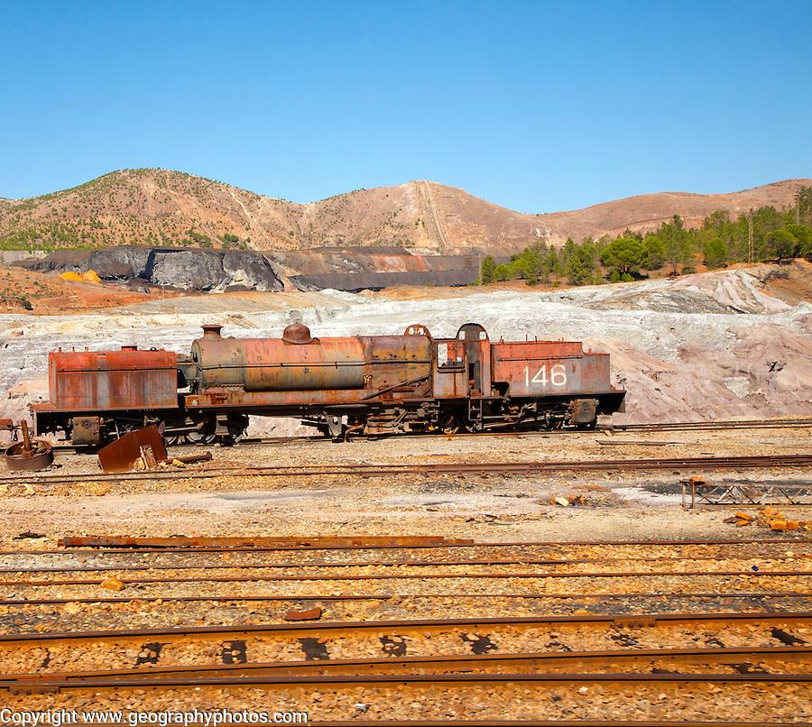 Old rusty abandoned steam train in the Rio Tinto mining area, Minas de Riotinto, Huelva province, Spain