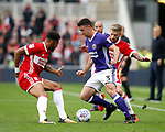 Enda Stevens of Sheffield Utd  takes on Cyrus Christie of Middlesbrough during the Championship match at the Riverside Stadium, Middlesbrough. Picture date: August 12th 2017. Picture credit should read: Simon Bellis/Sportimage