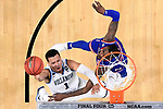 SAN ANTONIO, TX - MARCH 31: Jalen Brunson #1 of the Villanova Wildcats shoots the ball against Lagerald Vick #2 of the Kansas Jayhawks in the 2018 NCAA Men's Final Four semifinal game at the Alamodome on March 31, 2018 in San Antonio, Texas.  (Photo by Jamie Schwaberow/NCAA Photos via Getty Images)
