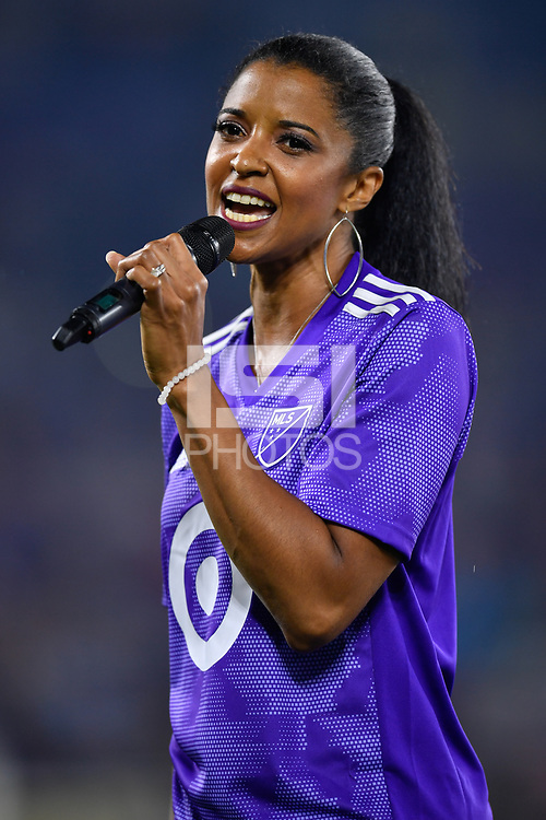 Orlando, FL - Wednesday July 31, 2019:  Renée Elise Goldsberry prior to an Major League Soccer (MLS) All-Star match between the MLS All-Stars and Atletico Madrid at Exploria Stadium.