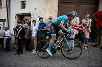 Manuele Boaro (ITA/Astana) up the steep, cobbled & crowded climb in Pinerolo<br /> <br /> Stage 12: Cuneo to Pinerolo (158km)<br /> 102nd Giro d'Italia 2019<br /> <br /> ©kramon