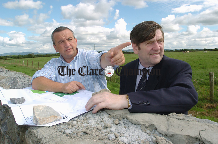 Clare GAA Chairman Michael Mc Donagh with secretary Pat Fitzgerald at the new site near Tulla. Photograph by John Kelly.