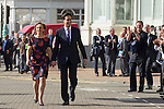 © Joel Goodman - 07973 332324 . 24/09/2013 . Brighton , UK . The Labour Party Leader , Ed Miliband , walks with his wife , Justine Thornton , from The Grand Hotel to the conference centre ahead of delivering the Leader's Speech to the conference , this afternoon (24th September 2013) . Day 3 of the Labour Party Conference in Brighton . Photo credit : Joel Goodman