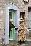 Marshfield Mummers, Boxing Day performance, Gloucestershire, England. 2006. Making a collection from villagers.