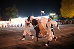 Chichibu Festival Yataijyoji festival-goers run with a horse in  the street of Chichibu City, Saitama Prefecture on December 3, 2018. People carry a mikoshi and floats with fireworks during the Chichibu Night Festival. The 300-year-history festival took place at the Chichibu Shrine and nearly 200,000 people enjoyed the festival. Chichibu festival's Yataigyoji and Kagura dance were officially added on the UNESCO's list of Intangible Cultural Heritage as one of set of 33 festivals in Japan that involve in yama, hoko, and yatai floats in 2016. December 3, 2018 (Photo by Nicolas Datiche/AFLO) (JAPAN)