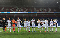 The Bolton Wanderers teams lines up before kick-off<br /> <br /> Photographer Kevin Barnes/CameraSport<br /> <br /> The EFL Sky Bet Championship - Cardiff City v Bolton Wanderers - Tuesday 13th February 2018 - Cardiff City Stadium - Cardiff<br /> <br /> World Copyright &copy; 2018 CameraSport. All rights reserved. 43 Linden Ave. Countesthorpe. Leicester. England. LE8 5PG - Tel: +44 (0) 116 277 4147 - admin@camerasport.com - www.camerasport.com