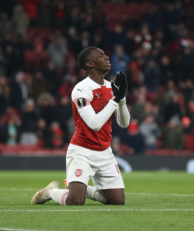 Despair for Arsenal's Eddie Nketiah after his goal was ruled out for offside<br /> <br /> Photographer Rob Newell/CameraSport<br /> <br /> UEFA Europa League Group E - Arsenal v FK Qarabag - Thursday 13th December 2018 - Emirates Stadium - London<br />  <br /> World Copyright © 2018 CameraSport. All rights reserved. 43 Linden Ave. Countesthorpe. Leicester. England. LE8 5PG - Tel: +44 (0) 116 277 4147 - admin@camerasport.com - www.camerasport.com