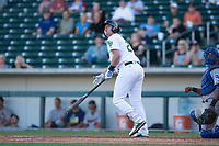 Mesa Solar Sox designated hitter Sheldon Neuse (20), of the Oakland Athletics organization, hits a two-run walk-off home run during an Arizona Fall League game against the Surprise Saguaros on November 2, 2017 at Sloan Park in Mesa, Arizona. The Solar Sox defeated the Saguaros 8-6. (Zachary Lucy/Four Seam Images)