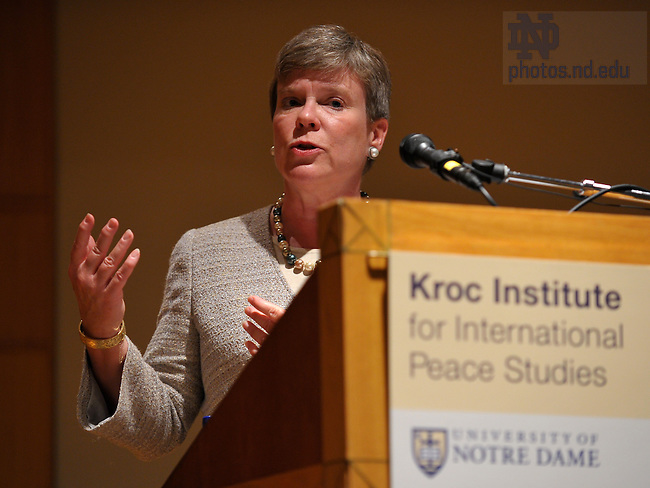 U.S. Assistant Secretary of State Rose Gottemoeller speaks at the Kroc Institute Sept. 21, 2010...Photo by Matt Cashore/University of Notre Dame