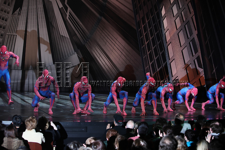 Ensemble: Spider-mans.during the Final Curtain Call Bow for the Original Version of 'Spider-Man Turn Off The Dark'. The show takes a brief Hiatus before the New Version Debuts on5/12/2011 in New York City.