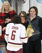 ?, Kaliya Johnson (BC - 6), Kelli Johnson, Courtney Kennedy (BC - Associate Head Coach) - The Boston College Eagles defeated the visiting Providence College Friars 7-1 on Friday, February 19, 2016, at Kelley Rink in Conte Forum in Boston, Massachusetts.