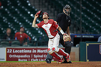 Kyle Lovelace (34) of the Houston Cougars chases a ball against the Vanderbilt Commodores during game nine of the 2018 Shriners Hospitals for Children College Classic at Minute Maid Park on March 3, 2018 in Houston, Texas. The Commodores defeated the Cougars 9-4. (Brian Westerholt/Four Seam Images)