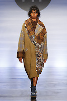 Model walks runway in an outfit by Bria Hendrickson, during the Future of Fashion 2017 runway show at the Fashion Institute of Technology on May 8, 2017.
