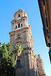Bell tower Baroque architecture exterior of the cathedral church of Malaga city, Spain - Santa Iglesia Catedral Basílica de la Encarnación