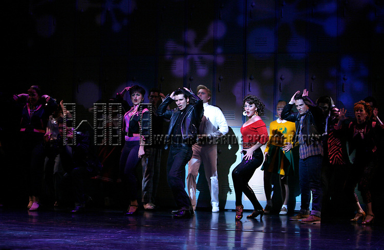 Janine Divita, Ace Young, Derek Keeling & Anna Aimee White during American Idol Heartthrob Ace Young makes his Broadway Debut in the Broadway Revival of GREASE at the Brooks Atkinson Theatre in New York City.<br />September 11, 2008