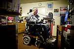 Quadriplegic Francisco Godoy uses his computer at his Sacramento, CA home January 22, 2010. Francisco needs around-the-clock care from Teresita, his ex-wife who also lives with him and In Home Supportive Services (IHSS) caregiver. The state pays Teresita for 283 hours per month, at $10.40/hour. Gov. Schwarzenegger has proposed cutting or eliminating the IHSS program which provides care for 450,000 Californians and jobs for 375,000 caregivers. If the program was eliminated, most would need to be institutionalized, likely at far greater taxpayer expense. CREDIT: Max Whittaker for The Wall Street Journal.CABUDGET