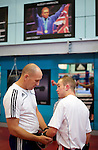 Pix: Shaun Flannery/shaunflanneryphotography.com...COPYRIGHT PICTURE>>SHAUN FLANNERY>01302-570814>>07778315553>>..16th September 2010...........GB Boxing. English Institute of Sport (EIS) Sheffield..Commenwealth Games boxers train at the Sheffield facility..Ian Weaver with coach Dave Alloway.