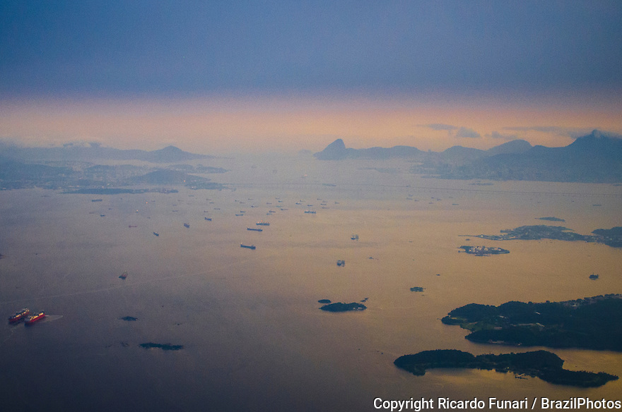 Aerial view of Guanabara bay, Rio de Janeiro, Brazil - Sugar Loaf Mountain ( entrance of the bay ) in background.