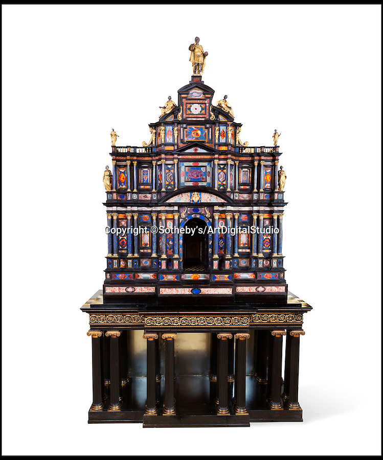 BNPS.co.uk (01202 558833)<br /> Pic: Sotheby's/ArtDigitalStudio/BNPS<br /> <br /> An exquisite Roman cabinet made for a 17th century pope that also graced the rooms of Windsor Castle and Buckingham Palace is set to sell for £1.7million.<br /> <br /> The pietre dure piece is the second best example of its type in the world and the only one of the top models made available at public auction.<br /> <br /> The cabinet was made in about 1620 for Pope Paul V Borghese and was later owned by King George IV and Queen Mary before it was sold to a wealthy Hungarian family in 1959.