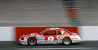 Bill Elliott's #9 Ford Thunderbird races down the front staightaway during practice for the Southern 500 at Darlington Raceway in Darlington SC on September 1, 1985. (Photo by Brian Cleary/www.bcpix.com)