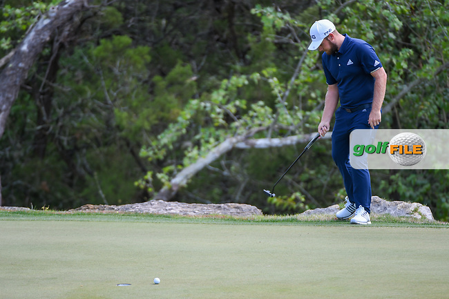 Tyrrell Hatton (ENG) looks at his lie after leaving his putt short on 2 during day 2 of the WGC Dell Match Play, at the Austin Country Club, Austin, Texas, USA. 3/28/2019.<br /> Picture: Golffile | Ken Murray<br /> <br /> <br /> All photo usage must carry mandatory copyright credit (© Golffile | Ken Murray)