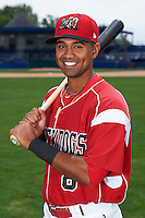 Batavia Muckdogs second baseman Giovanny Alfonzo (8) poses for a photo on July 8, 2015 at Dwyer Stadium in Batavia, New York.  (Mike Janes/Four Seam Images)