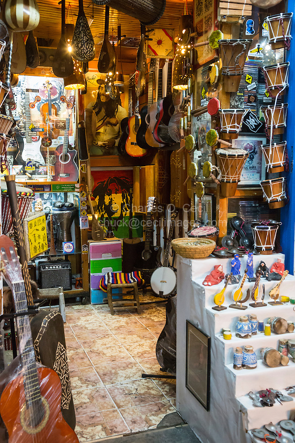 Essaouira, Morocco. Store Selling Musical Instruments.