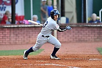 Pulaski Yankees second baseman Eduardo Torrealba (13) swings at a pitch during a game against the Elizabethton Twins at Joe O'Brien Field on June 27, 2016 in Elizabethton, Tennessee. The Yankees defeated the Twins 6-4. (Tony Farlow/Four Seam Images)