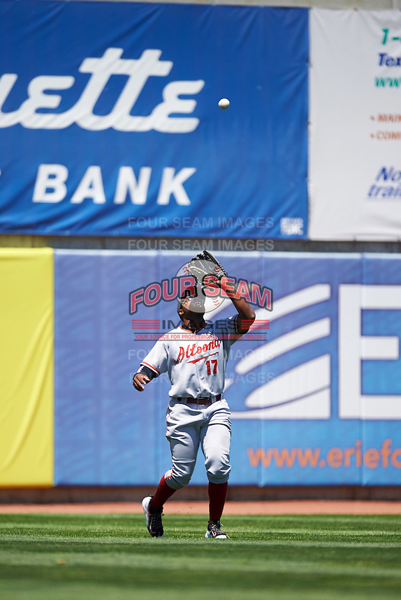 Altoona Curve left fielder Barrett Barnes (17) catches a fly ball during a game against the Erie SeaWolves on July 10, 2016 at Jerry Uht Park in Erie, Pennsylvania.  Altoona defeated Erie 7-3.  (Mike Janes/Four Seam Images)