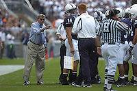 01 September 2007:  Penn State coach Joe Paterno talks to the offense.  The Penn State Nittany Lions defeated the Florida International Golden Panthers 59-0 September 1, 2007 at Beaver Stadium in State College, PA..