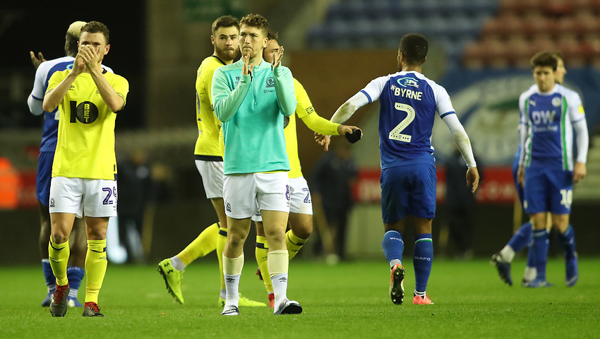 Blackburn Rovers' Corry Evans and Blackburn Rovers' Richard Smallwood at the end of today match<br /> <br /> Photographer Rachel Holborn/CameraSport<br /> <br /> The EFL Sky Bet Championship - Wigan Athletic v Blackburn Rovers - Wednesday 28th November 2018 - DW Stadium - Wigan<br /> <br /> World Copyright © 2018 CameraSport. All rights reserved. 43 Linden Ave. Countesthorpe. Leicester. England. LE8 5PG - Tel: +44 (0) 116 277 4147 - admin@camerasport.com - www.camerasport.com