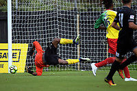 Mario Barcia's shot goes wide during the 2018 OFC Champions League Quarterfinal between Team Wellington and Lae City Dwellers FC at David Farrington Park in Wellington, New Zealand on Saturday, 7 April 2018. Photo: Dave Lintott / lintottphoto.co.nz
