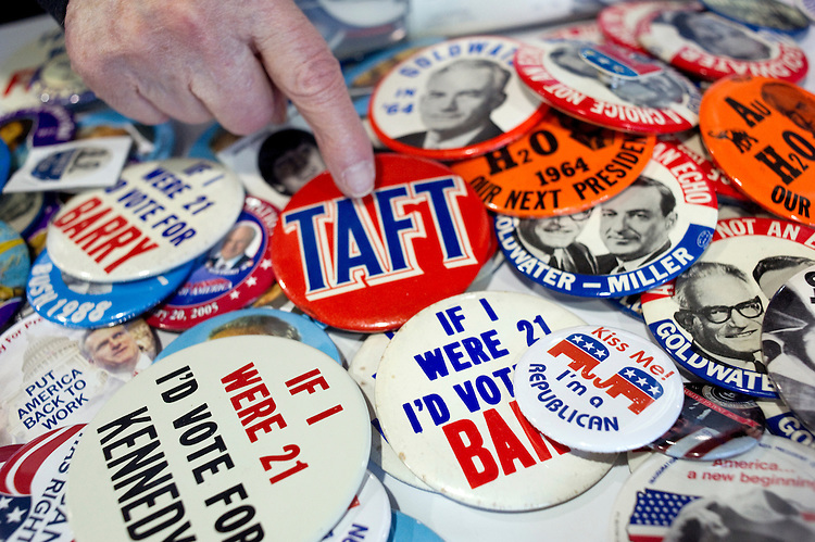 UNITED STATES - MARCH 13: Political campaign buttons and memorabilia at the 2013 Conservative Political Action Conference at the National Harbor.  (Photo By Chris Maddaloni/CQ Roll Call)