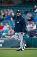 Columbus Clippers pitching coach Rigo Beltran (47) during an International League game against the Indianapolis Indians on April 29, 2019 at Victory Field in Indianapolis, Indiana. Indianapolis defeated Columbus 5-3. (Zachary Lucy/Four Seam Images)