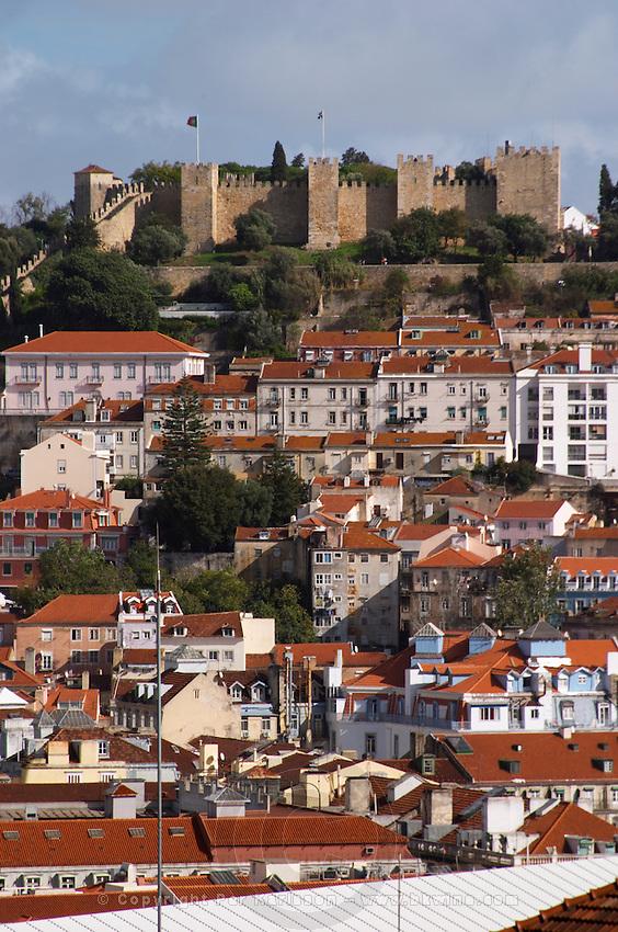 Castlo de Sao Jorge fortress. City view. Lisbon, Portugal