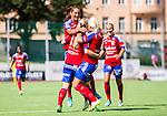 Stockholm 2015-07-11 Fotboll Damallsvenskan Hammarby IF DFF - Vittsj&ouml; GIK :  <br /> Vittsj&ouml;s Linda S&auml;llstr&ouml;m friar sitt 0-2 m&aring;l med lagkamrater under matchen mellan Hammarby IF DFF och Vittsj&ouml; GIK <br /> (Foto: Kenta J&ouml;nsson) Nyckelord:  Fotboll Damallsvenskan Dam Damer Zinkensdamms IP Zinkensdamm Zinken Hammarby HIF Bajen Vittsj&ouml; GIK jubel gl&auml;dje lycka glad happy