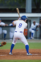 Kort Peterson (8) of the Burlington Royals at bat against the Kingsport Mets at Burlington Athletic Stadium on July 18, 2016 in Burlington, North Carolina.  The Royals defeated the Mets 8-2.  (Brian Westerholt/Four Seam Images)