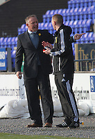 Inverness Caledonian Thistle Manager John Hughes speaks to 4th Official Brian Colvin about the red card in the Inverness Caledonian Thistle v St Mirren Scottish Professional Football League Premiership match played at the Tulloch Caledonian Stadium, Inverness on 29.3.14.