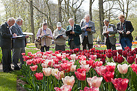 "Hollande, région des champs de fleurs, Lisse, Keukenhof, juges de la RHS (Royal Horticultural Society) de Kew Garden venu juger les tulipes et autre plantes bulbeuses pour les prix ""Award Garden Merit"" (AGM), ici devant une tulipe 'National Velvet' (pourpre foncée) crée par l'INRA // Holland, ""Dune and Bulb Region"" in April, Lisse, Keukenhof,  Judges of the RHS (Royal Horticultural Society) from Kew Garden come to judge tulips and others bulbous plants for the ""Award Garden Merit"" (AGM), here in front of a french variety of tulip 'National Velvet' (dark purple) create by INRA."
