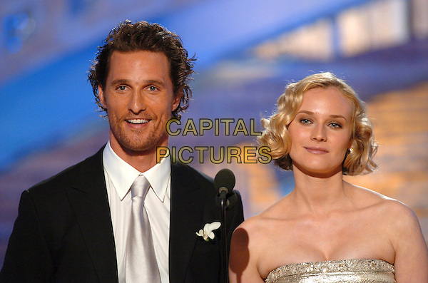 MATTHEW McCONAUGHEY & DIANE KRUGER.62nd Annual Golden Globe Awards, Beverly Hills, Los Angeles, California.January 16th, 2005.headshot, portrait, stage, microphone, stubble, facial hair.www.capitalpictures.com.sales@capitalpictures.com.Supplied by Capital Pictures.