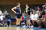 DURHAM, NC - FEBRUARY 04: Notre Dame head coach Muffet McGraw and Marina Mabrey (3). The Duke University Blue Devils hosted the University of Notre Dame Fighting Irish on February 4, 2018 at Cameron Indoor Stadium in Durham, NC in a Division I women's college basketball game. Notre Dame won the game 72-54.