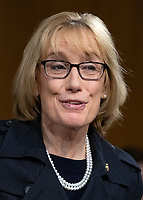 """United States Senator Maggie Hassan (Democrat of New Hampshire) before hearing testimony before the United States Senate Committee on Homeland Security and Governmental Affairs Permanent Subcommittee on Investigations during a hearing on """"Examining Private Sector Data Breaches"""" on Capitol Hill in Washington, DC on Thursday, March 7, 2019.<br /> Credit: Ron Sachs / CNP/AdMedia"""