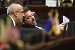 Nevada Senate leaders Mo Denis, D-Las Vegas, left, and Michael Roberson, R-Henderson, work on the Senate floor at the Legislative Building in Carson City, Nev., on Sunday, June 2, 2013. Lawmakers continue working long hours as the final, end-of-session deadline of midnight Monday approaches. (AP Photo/Cathleen Allison)