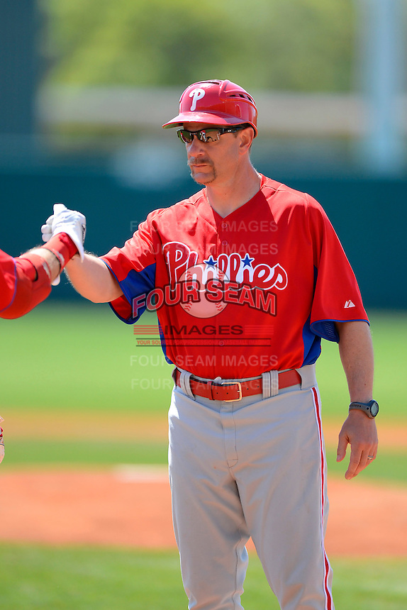 Philadelphia Phillies manager Mickey Morandini before a minor league Spring Training game against the Atlanta Braves at Al Lang Field on March 14, 2013 in St. Petersburg, Florida.  (Mike Janes/Four Seam Images)