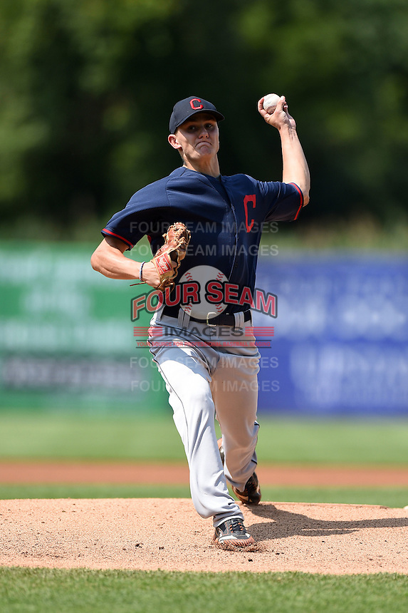 Maximilian Wotell (32) of Marvin Ridge High School in Waxhaw, North Carolina playing for the Cleveland Indians scout team during the East Coast Pro Showcase on July 31, 2014 at NBT Bank Stadium in Syracuse, New York.  (Mike Janes/Four Seam Images)