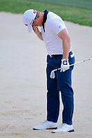 Bud Cauley (USA) wipes sand from his eyes after his shot from the trap on 17 during round 2 of the Valero Texas Open, AT&amp;T Oaks Course, TPC San Antonio, San Antonio, Texas, USA. 4/21/2017.<br /> Picture: Golffile | Ken Murray<br /> <br /> <br /> All photo usage must carry mandatory copyright credit (&copy; Golffile | Ken Murray)