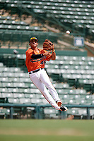 Baltimore Orioles Alexis Torres (45) throws to first base during an Instructional League game against the Tampa Bay Rays on October 2, 2017 at Ed Smith Stadium in Sarasota, Florida.  (Mike Janes/Four Seam Images)
