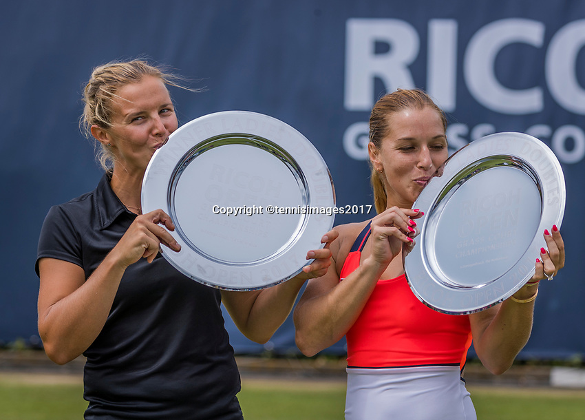"Den Bosch, Netherlands, 17 June, 2017, Tennis, Ricoh Open,  Woman's doubles Final : Dominika Cibulkova (SVK) / Kirsten Flipkens (BEL) (L) receive their trophy""s<br /> Photo: Henk Koster/tennisimages.com"