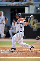 UCF Knights third baseman Griffin Bernardo (11) hits an infield single during a game against the Siena Saints on February 17, 2019 at John Euliano Park in Orlando, Florida.  UCF defeated Siena 7-1.  (Mike Janes/Four Seam Images)